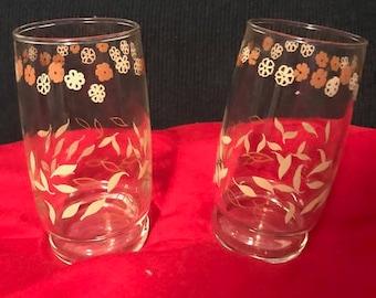 Vintage Drinking Juice Tumblers, Retro flowers, leaves, set of two glasses