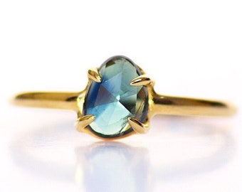 Rose Cut Blueish green Sapphire Ring