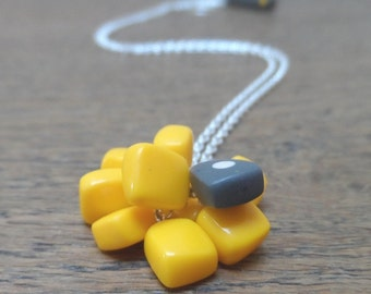 Yellow pendant - resin cluster with spot