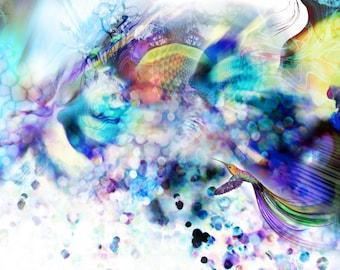 Canvas Print - 48x22.5cm - 'Utopia' - Abstract Organic Psychedelic fantasy illustration.