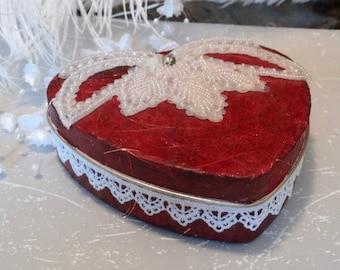 Heart Shaped Tin Box, Red, Hand Made Design,  measures 4 x 4.5 x 1.25 in, Decorative Treasure Box, Embellished Keepsake Box, Jewelry Box