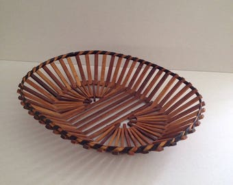 Vintage Bamboo Slat Basket, Mid Century, From 1970s, Is Handcrafted, Thin Wood Slats, Wire, Decorative Black Tape, 12.5 L X 10 W X 2.5 D