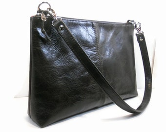 Leather Shoulder Bag Made in USA, Leather Crossbody Purse with Pockets, Handmade Leather Handbags, Leather Minimalist Bag, Cross Body Bag