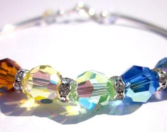 "Sparkle Bracelet- Swarovski Crystal "" Covenant"" Ball Bracelet, Rainbow,Colorful, Summer jewelry,Christian jewelry"