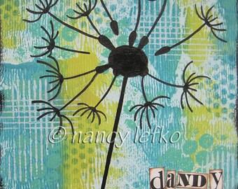 dandy - 6 x 6 ORIGINAL COLLAGE by Nancy Lefko