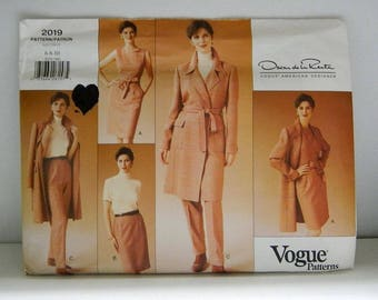 Vogue Pattern 2019 - Vintage Oscar De La Renta Coat, Dress, Pants and Skirt Pattern - Uncut