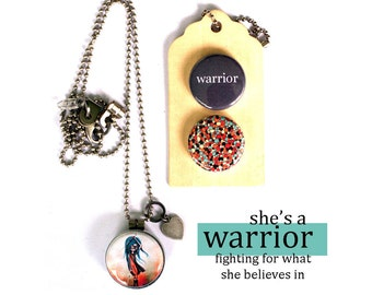 WARRIOR Necklace, Locket, Inspirational Jewelry, Gift for Her, Archetype Jewelry, Magnetic, Holds a Picture, 3 in 1, Solocosmo, Personalized