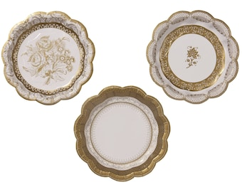 Paper Plates,  gold partyware. weddings, anniversaries and stylish buffets.
