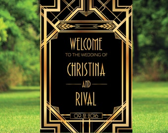Printable Gatsby Wedding Welcome Sign, Welcome wedding sign, art deco wedding signs, Modern Wedding Sign, welcome to our wedding   WWS004