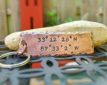 Coordinate Keychain / Personalized Coordinate Keychain / Latitude Longitude / Wedding Gift / Hand Stamped Custom Keychain / Copper Keychain