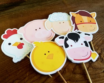 Farm Birthday Party - Set of 12 Assorted Double Sided Farm Friends Cupcake Toppers by The Birthday House