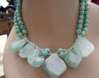 Two strand amazonite necklace with fabulous drops