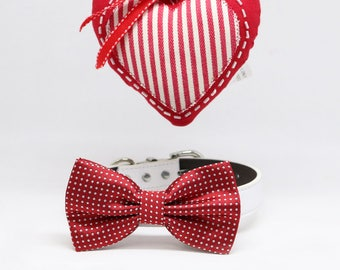 Red Polka Dots Dog Bow tie collar, Dog accessories, Red Lovers, Valentine's Gift, Handmade, Leather collar