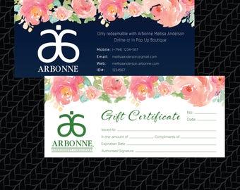 PRINTABLE Arbonne Gift Certificate, Arbonne Printable Gift Certificate, Custom Business Card, Digital File AB001