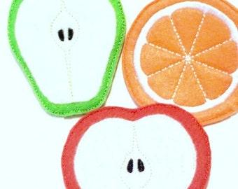 Felt play food - pretend food - play kitchen food - Vegetarian fruit 3 piece set - pear, orange, and apple - play kitchen - #PF2558
