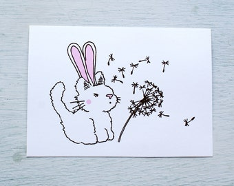 Card-cat with rabbit ears and dandelion