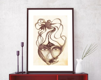Equilibrium - Original Painting Drawing Print, Home Decor, Wall Art, Wall Decor, Hand Painted Art Print, Home Decoration- UNUSUAL Drawings
