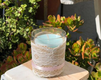 Burlap Lace Votive Candle Holder