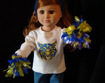 """Jeans & Choice of Your School or Team T-Shirt Doll Outfit; for American Girl Style 18"""" Dolls! School n Dress Up Doll Clothes."""