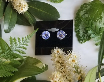 Blue Floral Post Earrings with Gold Luster