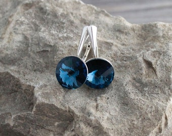 Sterling Silver & Montana Blue Lever Back Earrings; Rivoli Crystal Earrings; Bridal, Bridesmaids, Ocean Beach Jewelry; Translucent Navy Blue