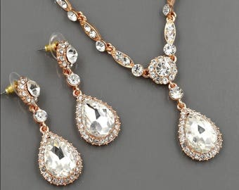 "Dangle Crystal Vintage Rose Gold Wedding Prom gauges plugs tunnels earrings and Necklace 2g 0g 00g 1/2"" 6mm 8mm 10mm 12mm"