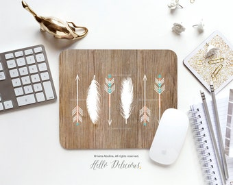 Mouse Pad Mousepad Faux Wood Arrows Mouse Mat Feathers Mouse Pad Office Mousemat Rectangular Mousemat Native Wood Print Mousepad Round I127