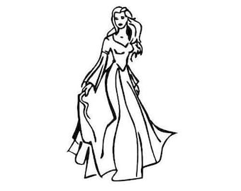 Princess unmounted rubber stamp, lady, beautiful woman, person, people, model, girl's birthday, fairy tale, Sweet Grass Stamps No.5