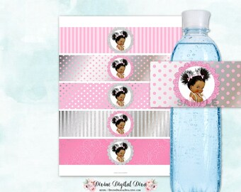 Water Bottle Labels | Afro Puffs African American Princess Ballerina  Silver & Pink Polka Dots Stripes | Digital Instant Download