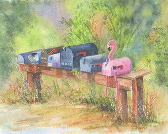 Mailboxes-Flamingo-Watercolor-Fine Art Print