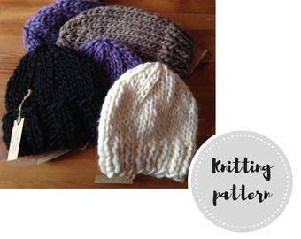 1-hour wool knit hats PDF pattern - beanie, slouch, and roll brim options