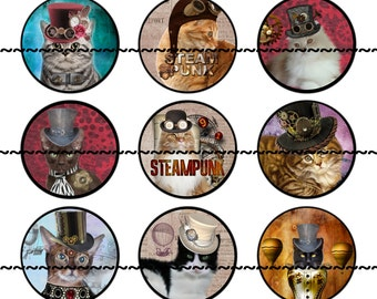 Cat Magnets Pins , Steampunk Cat Magnets, Cat Pins, Steampunk Cat Pins, Magnet Gift Sets, Pin Gift Set, Fridge Magnets, Cat Lovers Gift