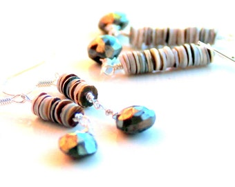 long seashell pyrite drop earrings. free domestic gift shipping. wire wrapped. earthy gift under 25. sterling silver. green oyster shells