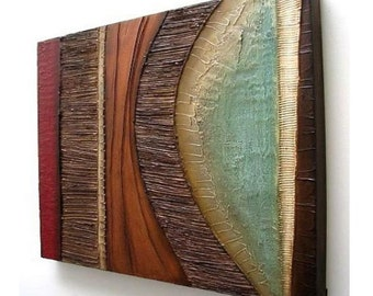 Abstract painting MODERN textured wall SCULPTURE art original acrylic painting  art on canvas red aqua sienna