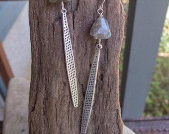 Long Silver and Labradorite Earrings || Silver Spikes | Labradorite Stones | Earthy | Organic | Boho | Hippie | Wedding |  Earrings Under 25