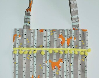 Gift bag -little girls tote bag - Triangles - owls - foxes - Yellow - Clouds - Tartan