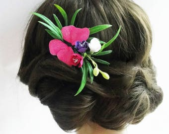 Fuchsia Hot Pink Flower Hair Comb - Hot Pink Butterfly Hair Comb, Fuchsia Wedding Comb, Pink Bridal Hair Piece, Flower Collage Hair Comb