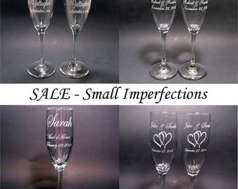 SALE - Custom Etched Toasting Flutes (2) with Small Imperfections - Wedding Champagne Flute Pair