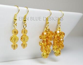 Amber Crystals Earrings. Amber Cluster Earrings, Golden Cluster Earrings, Crystal Earrings, Orange Crystal Earrings, Saffron Crystal Jewelry