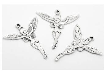 1 x pendant - cute fairy - 52 * 46mm - silver