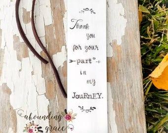 Personalized bookmark, custom bookmark, stamped, scripture, silver bookmark, leather tassel, gift for teacher, bookworm, metal bookmark