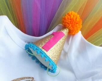 First Birthday Hat, Rainbow Mini Glittery Party Hat, Cake Smash Hat, 1st Birthday Hat, Baby Girl's Photo Prop, Glitter Hat