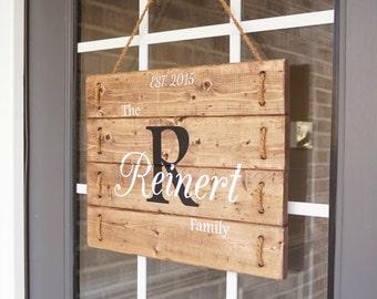 Front Door Decor- Family Est Sign- Family Door Hangers Wood-  Front Door Signs- Personalized Established Wooden Family Signs- Wood Signs
