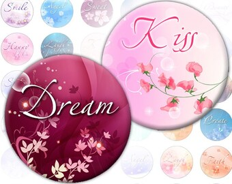 Inspirational words 1 inch circles (257) digital collage sheet