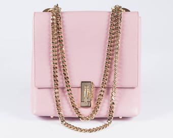 Light PINK Leather Bag w/ Gold plated front clap closure, REAL Leather crossbody bag by Anna Kruz Pink leather Shoulder Bag Hand bag JUSTEEN