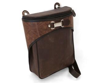 Brown leather messenger, brown crossbody bag, retro messenger  - VIA II