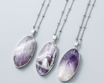 Natural Amethyst Necklace,Purple Quartz Necklace,Purple Gemstone Silver Electroplated Pendant Charm Chain Necklace Jewelry Gift For Women