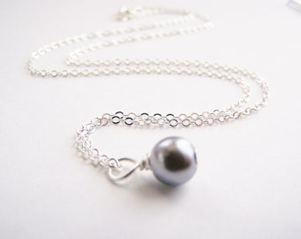 Stormy Seas Glass Pearl Necklace - Matching earrings and bracelet also available - other colors - sets - weddings - FREE shipping wai