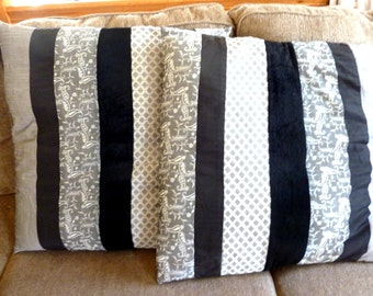 Closeout! Set of 2 Black and Gray Pillow Covers 24""