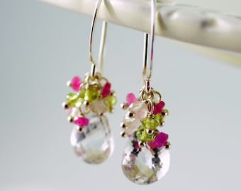 Spring Bridal Earrings, Rock Crystal Quartz Peridot Sapphire Cluster, Sterling Silver Gemstone Jewelry - Spring Thaw - Free Shipping